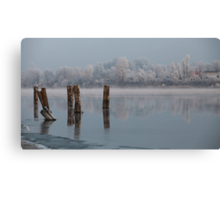 quiet misty morning on the river Canvas Print