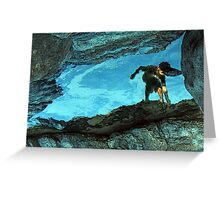 boy in a rock pool Greeting Card