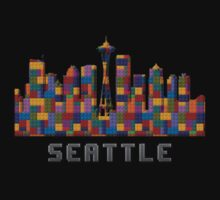 Space Needle Seattle Washington Skyline Created With Lego Like Blocks Kids Tee