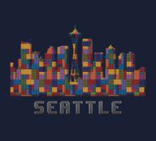 Space Needle Seattle Washington Skyline Created With Lego Like Blocks One Piece - Long Sleeve