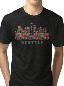 Space Needle Seattle Washington Skyline Created With Lego Like Blocks Tri-blend T-Shirt