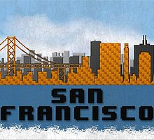 Golden Gate Bridge San Francisco California Skyline Created With Lego Like Blocks by T-ShirtsGifts