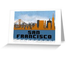 Golden Gate Bridge San Francisco California Skyline Created With Lego Like Blocks Greeting Card