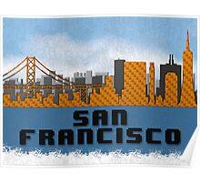 Golden Gate Bridge San Francisco California Skyline Created With Lego Like Blocks Poster