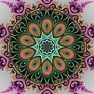 Green Fractal Pattern Kaleidoscope 01 by fantasytripp