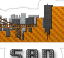 Gate Bridge San Francisco California Skyline Created With Lego Like Blocks Sticker