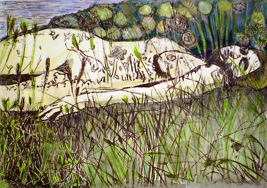"Girl in the Grass 5 by Belinda ""BillyLee"" NYE (Printmaker)"