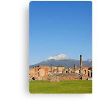 Temple of Jupiter and Mt Vesuvius, Pompeii  Canvas Print
