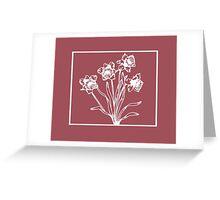 Marsala and White Daffodil Design Greeting Card