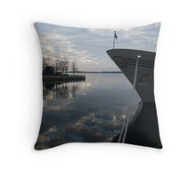 Serene Morning at the Harbor Throw Pillow