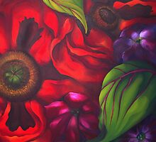 POPPY GARDEN ~ OIL ON CANVAS by LacewingDesign