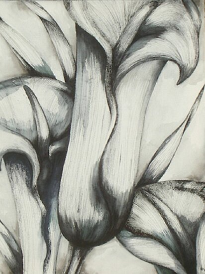 CALLA LILIES ~ PEN AND INK ON CANVAS ~ by LacewingDesign