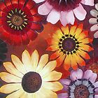 DAISY ~ VARIGATED ~ WATERCOLOUR ON CANVAS by LacewingDesign