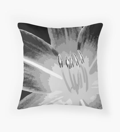 TIGER LILY ~ MONOCHROME ~ WIDE BRUSH OIL ON CANVAS Throw Pillow
