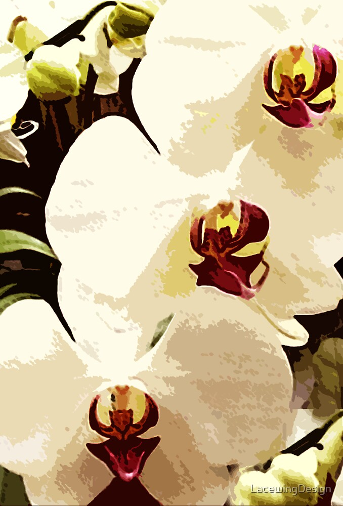 SUMMER WHITE ORCHID ~ OIL ON CANVAS by LacewingDesign