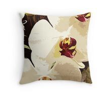 SUMMER WHITE ORCHID ~ OIL ON CANVAS Throw Pillow