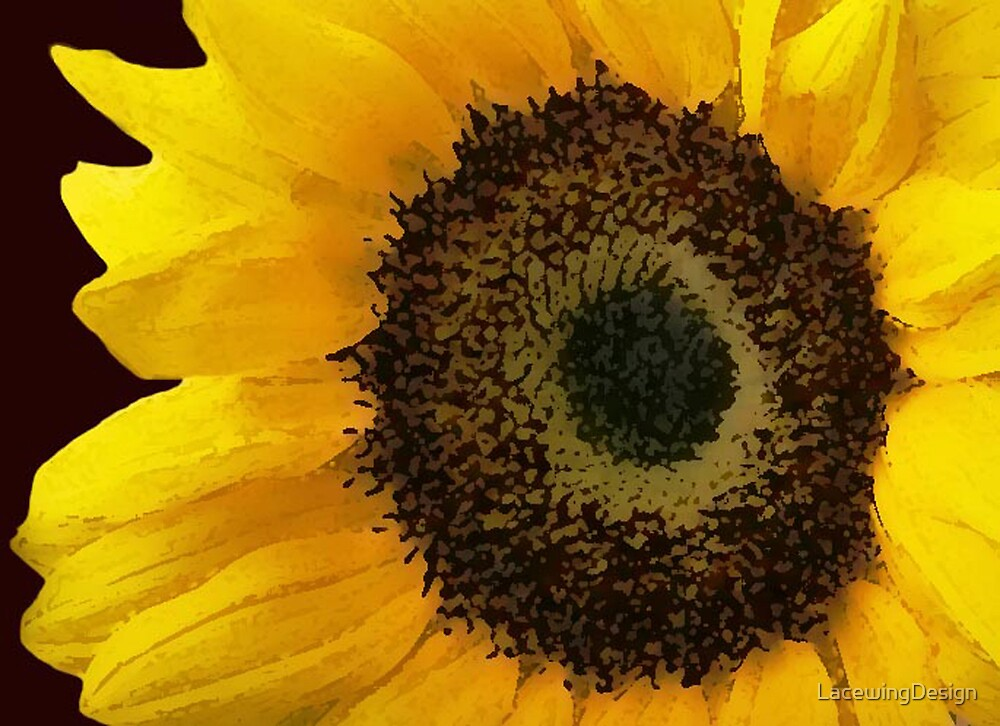 YELLOW SUNFLOWER ~ DAUBED OIL ON CANVAS by LacewingDesign