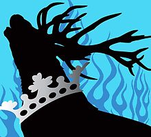 Game of Thrones Baratheon Aqua & Silver Crowned Stag by Kayla Dibble