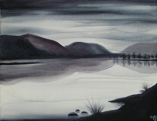 CANADIAN LAKE ~ MONOCHROMATIC ~ WATERCOLOUR by LacewingDesign