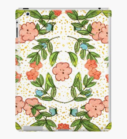Orange Floral Pattern Complex iPad Case/Skin