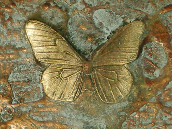 BUTTERFLY ~ OLD GOLD ~ RESIN 3D CANVAS  by LacewingDesign