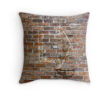 Brick wall with arrow Throw Pillow
