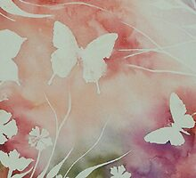 BUTTERFLY GARDEN ~ SILHOUETTE STUDY #2 ~ WATERCOLOUR  by LacewingDesign