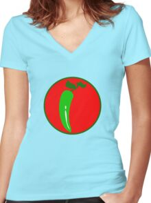 PEPPER PAPRIKA CHILI SPICE Women's Fitted V-Neck T-Shirt