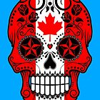 Canadian Flag Sugar Skull with Roses by Jeff Bartels