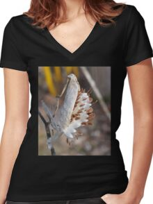 Pop goes the Milk Weed! Women's Fitted V-Neck T-Shirt