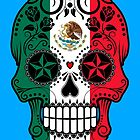 Mexican Flag Sugar Skull with Roses by Jeff Bartels