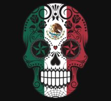 Sugar Skull with Roses and Flag of Mexico Kids Tee