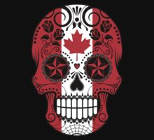 Sugar Skull with Roses and Flag of Canada Kids Clothes