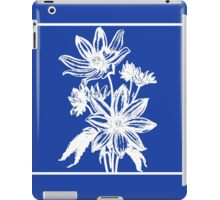 Deep Ocean Blue with White Daisy Art iPad Case/Skin