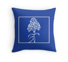 Deep Ocean Blue with White Lilac Art Throw Pillow