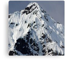Sunny Snowy Mountain With Blue Sky Metal Print