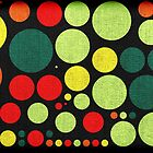 Abstract polka dot painted canvas by Nhan Ngo