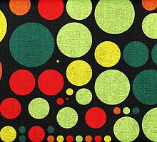 Abstract polka dot painted canvas by Nhan Ngo