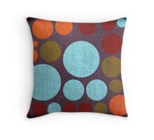 Retro polka dot painted canvas Throw Pillow