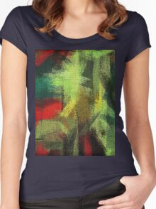 Abstract painted canvas #3 Women's Fitted Scoop T-Shirt