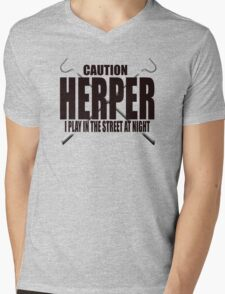 CAUTION HERPER Mens V-Neck T-Shirt
