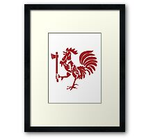 Kenyan Court of Arms Cockerel with Axe - Red Framed Print