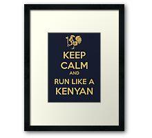 Keep Calm and Run Like a Kenyan - Golden Framed Print