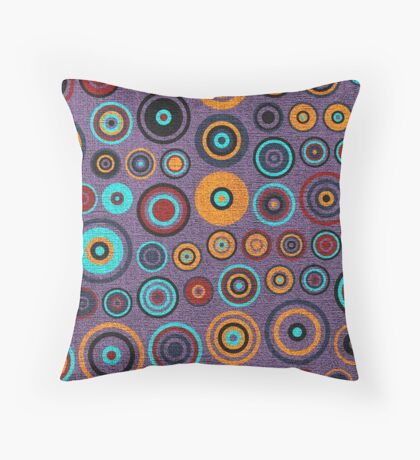 Retro circles painted canvas Throw Pillow