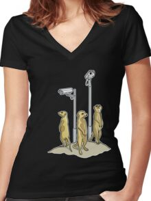 Meerkat CCTV Women's Fitted V-Neck T-Shirt