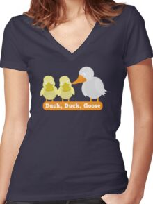 Duck Duck Goose with cute little duckies Women's Fitted V-Neck T-Shirt