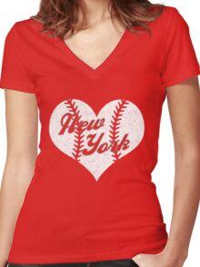 New York Yankees Baseball Heart  Women's Fitted V-Neck T-Shirt