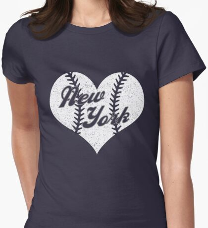 New York Yankees Baseball Heart  Womens Fitted T-Shirt