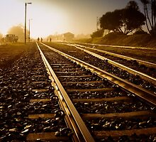 Railway Tracks at sunrise and twilight sky by lightwanderer