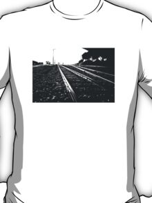 Railway Tracks at sunrise and twilight sky T-Shirt